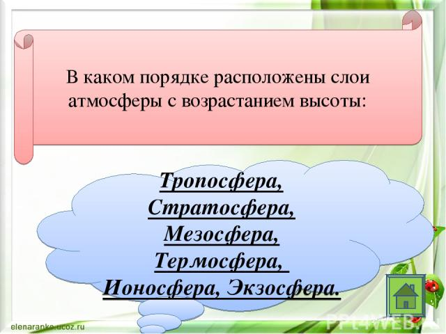 В каком порядке расположены слои атмосферы с возрастанием высоты: Тропосфера, Стратосфера, Мезосфера, Термосфера, Ионосфера, Экзосфера.