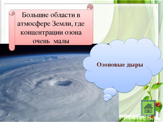 Большие области в атмосфере Земли, где концентрации озона очень малы Озоновые дыры