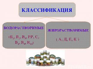 ВОДОРАСТВОРИМЫЕ (В1, В2, В6, РР, С, В5, В9, В12) ЖИРОРАСТВОРИМЫЕ ( А, Д, Е, К )