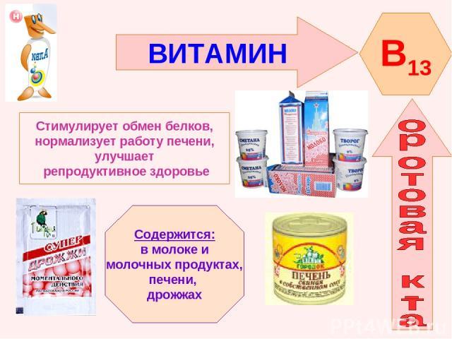 ВИТАМИН B13 Стимулирует обмен белков, нормализует работу печени, улучшает репродуктивное здоровье Содержится: в молоке и молочных продуктах, печени, дрожжах