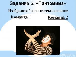 Задание 5. «Пантомима» Изобразите биологическое понятие Команда 1 Команда 2