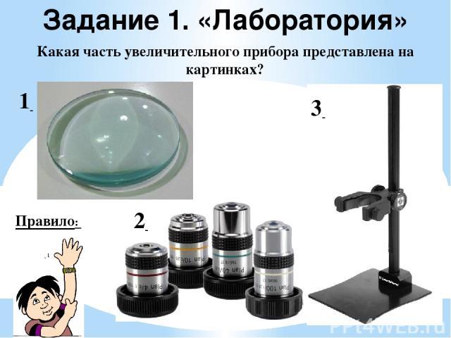 Задание 1. «Лаборатория» Какая часть увеличительного прибора представлена на картинках? Правило: 1 2 3