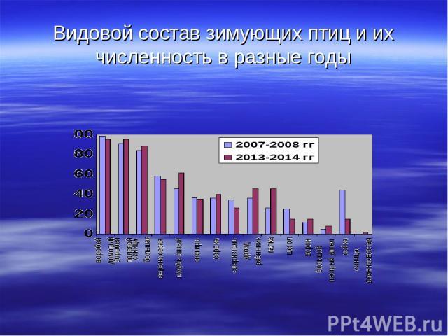 Видовой состав зимующих птиц и их численность в разные годы