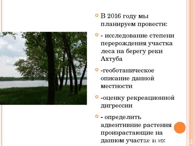 В 2016 году мы планируем провести: - исследование степени перерождения участка леса на берегу реки Ахтуба -геоботаническое описание данной местности -оценку рекреационной дигрессии - определить адвентивние растения произрастающие на данном участке и…