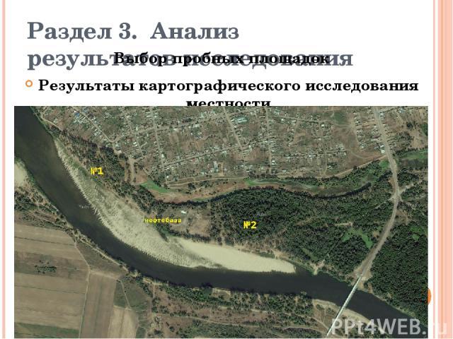 Раздел 3.Анализ результатов исследования Выбор пробных площадок Результаты картографического исследования местности