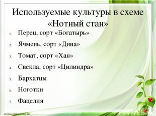 Используемые культуры в схеме «Нотный стан» Перец, сорт «Богатырь» Ячмень, сорт