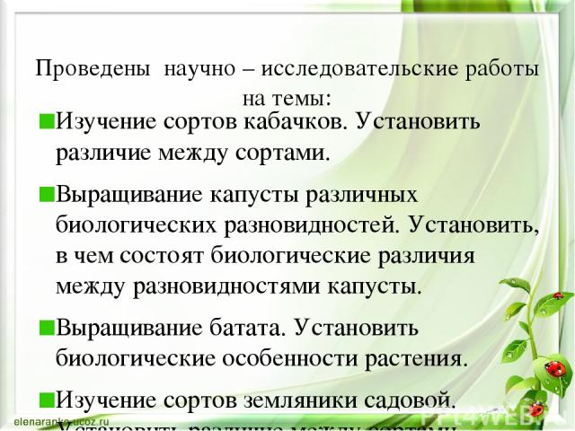Проведены научно – исследовательские работы на темы: Изучение сортов кабачков. Установить различие между сортами. Выращивание капусты различных биологических разновидностей. Установить, в чем состоят биологические различия между разновидностями капу…