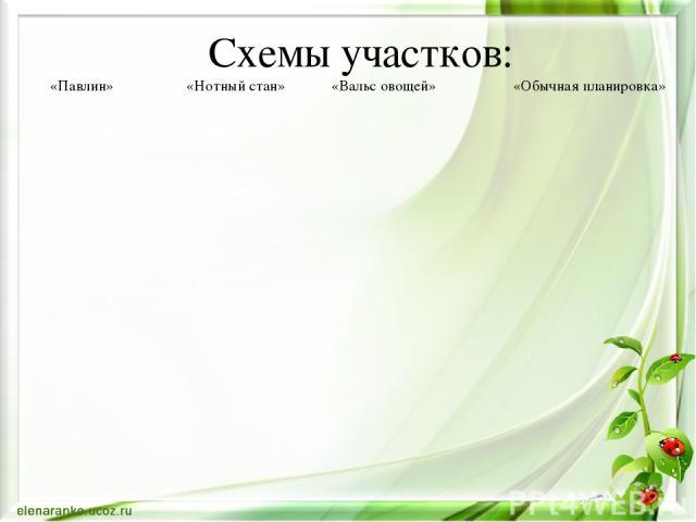 Схемы участков: «Павлин» «Нотный стан» «Вальс овощей» «Обычная планировка»