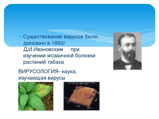Существование вирусов было доказано в 1892г Д.И.Ивановским при изучении мозаичной болезни растений табака ВИРУСОЛОГИЯ- наука, изучающая вирусы