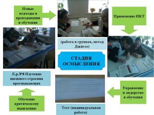 СТАДИЯ ОСМЫСЛЕНИЯ (работа в группах, метод Джигсо) Тест (индивидуальная работа)