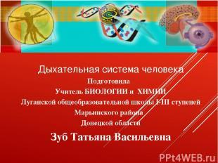 Дыхательная система человека Подготовила Учитель БИОЛОГИИ и ХИМИИ Луганской обще