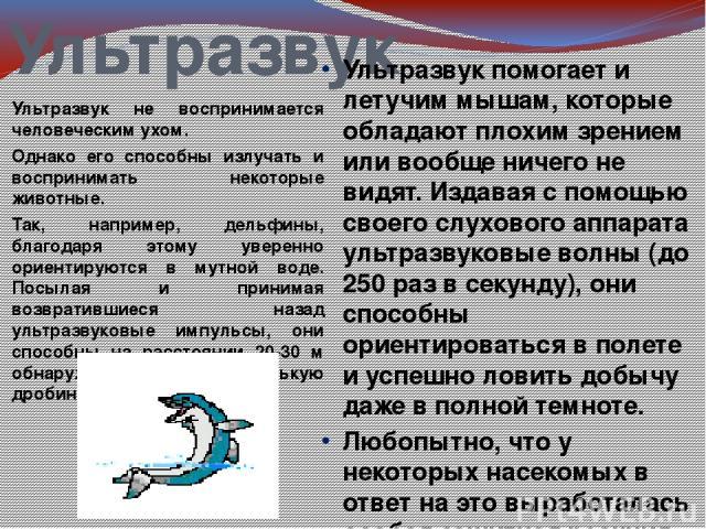 Ультразвук Ультразвук не воспринимается человеческим ухом. Однако его способны излучать и воспринимать некоторые животные. Так, например, дельфины, благодаря этому уверенно ориентируются в мутной воде. Посылая и принимая возвратившиеся назад ультраз…