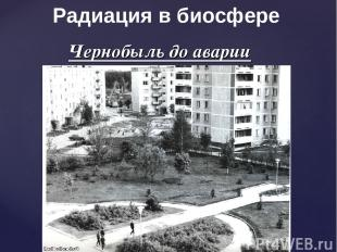 Чернобыль до аварии Радиация в биосфере