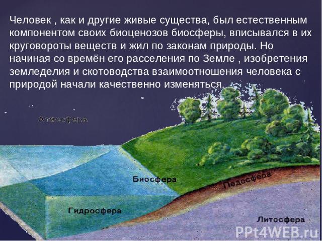 Человек , как и другие живые существа, был естественным компонентом своих биоценозов биосферы, вписывался в их круговороты веществ и жил по законам природы. Но начиная со времён его расселения по Земле , изобретения земледелия и скотоводства взаимоо…