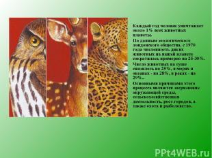 Каждый год человек уничтожает около 1% всех животных планеты. По данным зоологич
