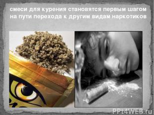 смеси для курения становятся первым шагом на пути перехода к другим видам наркот