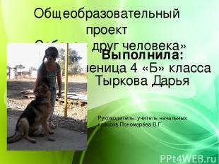 Общеобразовательный проект «Собака - друг человека» Выполнила: Ученица 4 «Б» кла