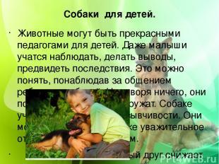 Собаки для детей. Животные могут быть прекрасными педагогами для детей. Даже мал