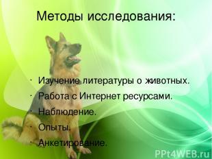 Методы исследования: Изучение литературы о животных. Работа с Интернет ресурсами