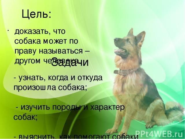 Цель: доказать, что собака может по праву называться – другом человека. Задачи - узнать, когда и откуда произошла собака;  - изучить породы и характер собак;  - выяснить, как помогают собаки людям в повседневной жизни;  - провести опрос среди све…