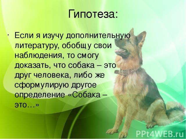 Гипотеза: Если я изучу дополнительную литературу, обобщу свои наблюдения, то смогу доказать, что собака – это друг человека, либо же сформулирую другое определение «Собака – это…»