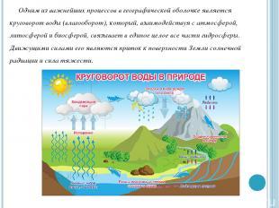 Одним из важнейших процессов в географической оболочке является круговорот воды