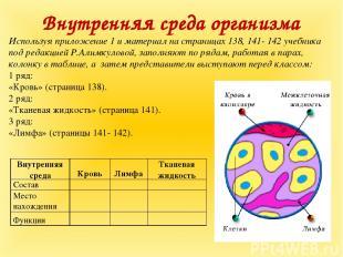 Внутренняя среда организма Используя приложение 1 и материал на страницах 138, 1