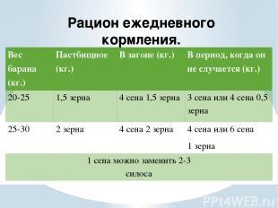 Рацион ежедневного кормления. Вес барана (кг.) Пастбищное (кг.) В загоне (кг.) В