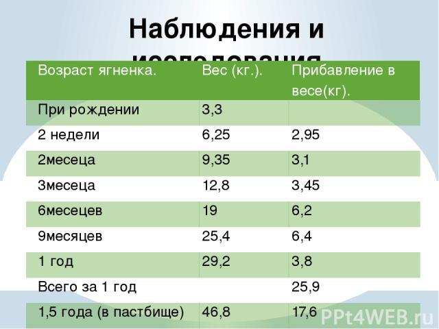 Наблюдения и исследования Возраст ягненка. Вес (кг.). Прибавление в весе(кг). При рождении 3,3  2 недели 6,25 2,95 2месеца 9,35 3,1 3месеца 12,8 3,45 6месецев 19 6,2 9месяцев 25,4 6,4 1 год 29,2 3,8 Всего за 1 год  25,9 1,5 года (в пастбище) 46,8 17,6