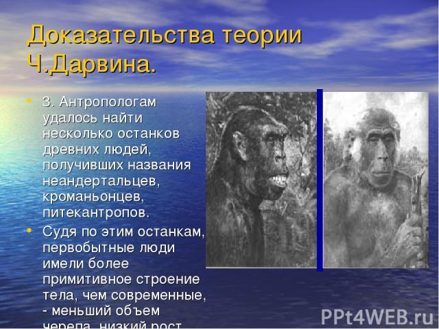 Доказательства теории Ч.Дарвина. 3. Антропологам удалось найти несколько останков древних людей, получивших названия неандертальцев, кроманьонцев, питекантропов. Судя по этим останкам, первобытные люди имели более примитивное строение тела, чем совр…