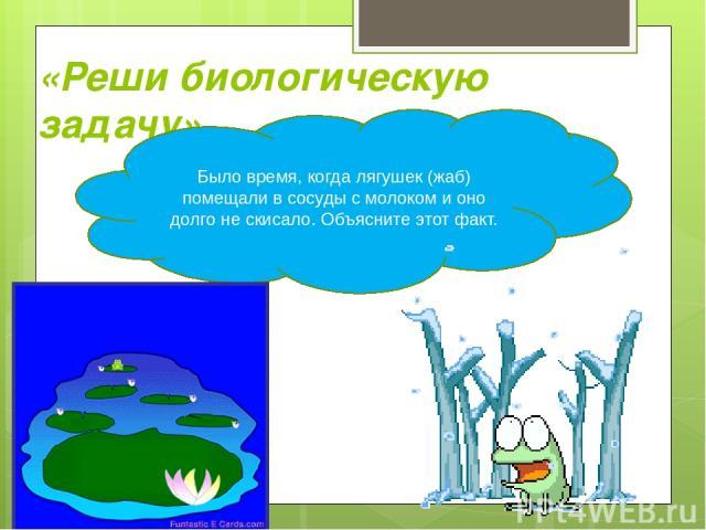«Реши биологическую задачу» Было время, когда лягушек (жаб) помещали в сосуды с молоком и оно долго не скисало. Объясните этот факт.
