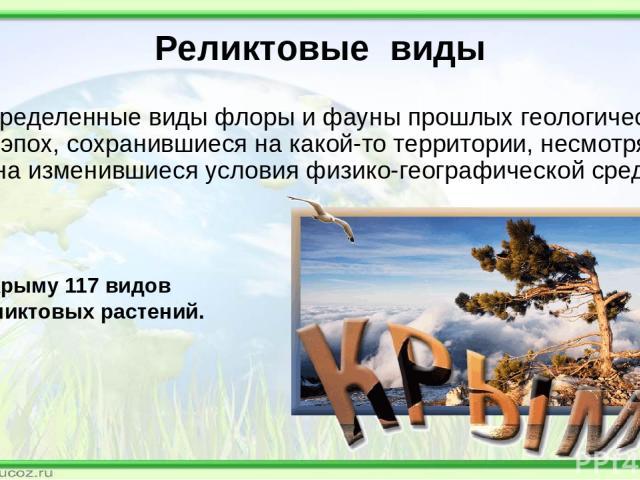 Реликтовые виды определенные виды флоры и фауны прошлых геологических эпох, сохранившиеся на какой-то территории, несмотря на изменившиеся условия физико-географической среды В Крыму 117 видов реликтовых растений.