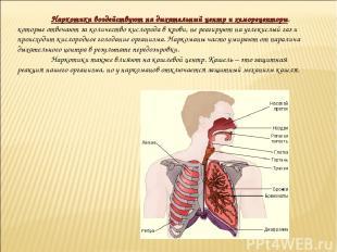 Наркотики воздействуют на дыхательный центр и хеморецепторы, которые отвечают за