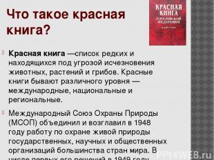 Что такое красная книга? Красная книга —список редких и находящихся под угрозой