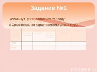 используя § 2.6 заполните таблицу: « Сравнительная характеристика ДНК и РНК» Зад