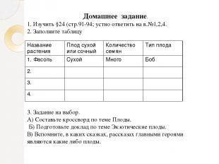 Домашнее задание. 1. Изучить §24 (стр.91-94; устно ответить на в.№1,2,4. 2. Запо