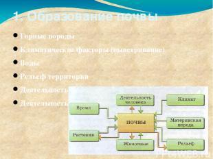 1. Образование почвы Горные породы Климатические факторы (выветривание) Воды Рел