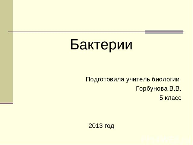 Бактерии Подготовила учитель биологии Горбунова В.В. 5 класс 2013 год