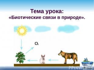 Тема урока: «Биотические связи в природе».