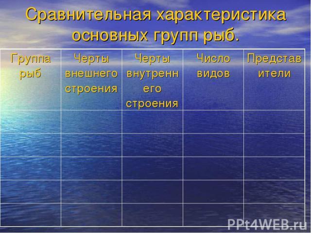 Сравнительная характеристика основных групп рыб. Группа рыб Черты внешнего строения Черты внутреннего строения Число видов Представители