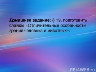 Домашнее задание: § 19, подготовить слайды «Отличительные особенности зрения чел