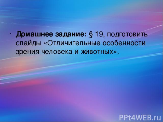 Домашнее задание: § 19, подготовить слайды «Отличительные особенности зрения человека и животных».