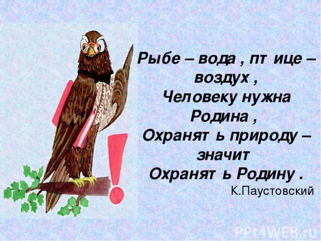 Рыбе – вода , птице – воздух , Человеку нужна Родина , Охранять природу – значит Охранять Родину . К.Паустовский