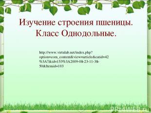 Изучение строения пшеницы. Класс Однодольные. http://www.virtulab.net/index.php?