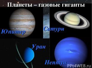 Планеты – газовые гиганты Юпитер Сатурн Уран Нептун