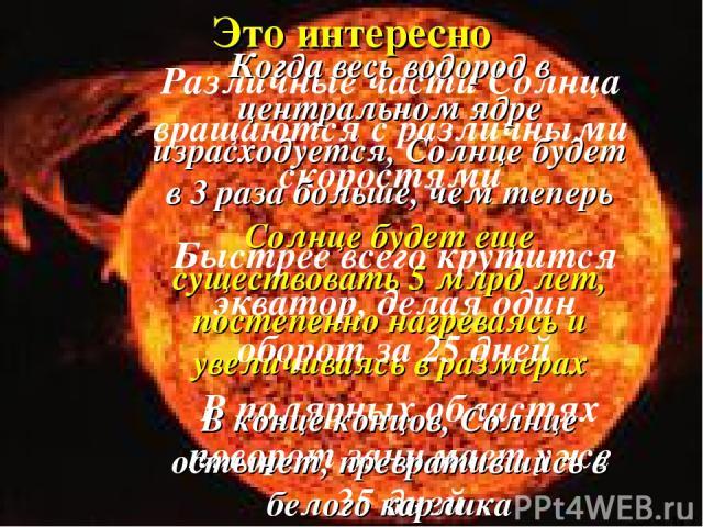 Различные части Солнца вращаются с различными скоростями Это интересно Солнце будет еще существовать 5 млрд лет, постепенно нагреваясь и увеличиваясь в размерах Быстрее всего крутится экватор, делая один оборот за 25 дней В полярных областях поворот…