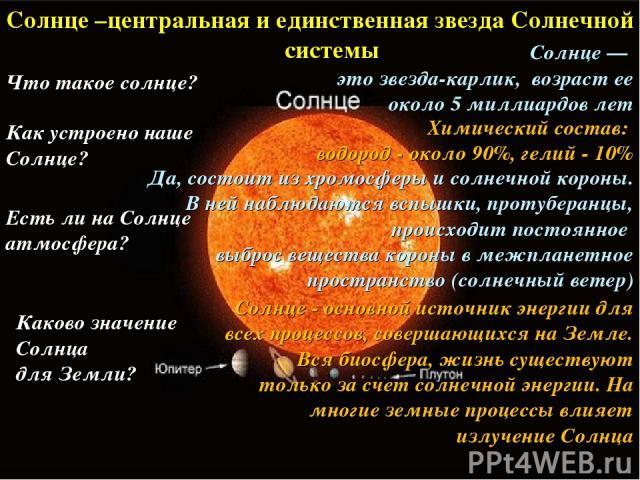 Солнце –центральная и единственная звезда Солнечной системы Химический состав: водород - около 90%, гелий - 10% Как устроено наше Солнце? Солнце — это звезда-карлик, возраст ее около 5 миллиардов лет Что такое солнце? Солнце - основной источник энер…