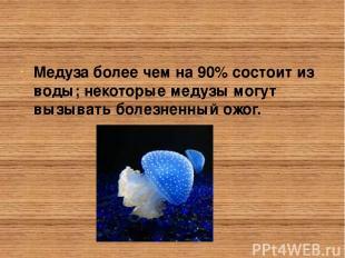 Медуза более чем на 90% состоит из воды; некоторые медузы могут вызывать болезне