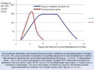 Исследовали динамику накопления биомассы при глубинном культивировании в течении
