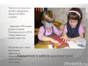 Нарушения в работе анализаторов Частота тугоухости у детей с синдромом Дауна в 6